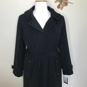 Gallery Hooded Belted Trench Raincoat Black Size 1X NWT